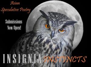 The Eagle owl (Bubo Bubo) and moon.